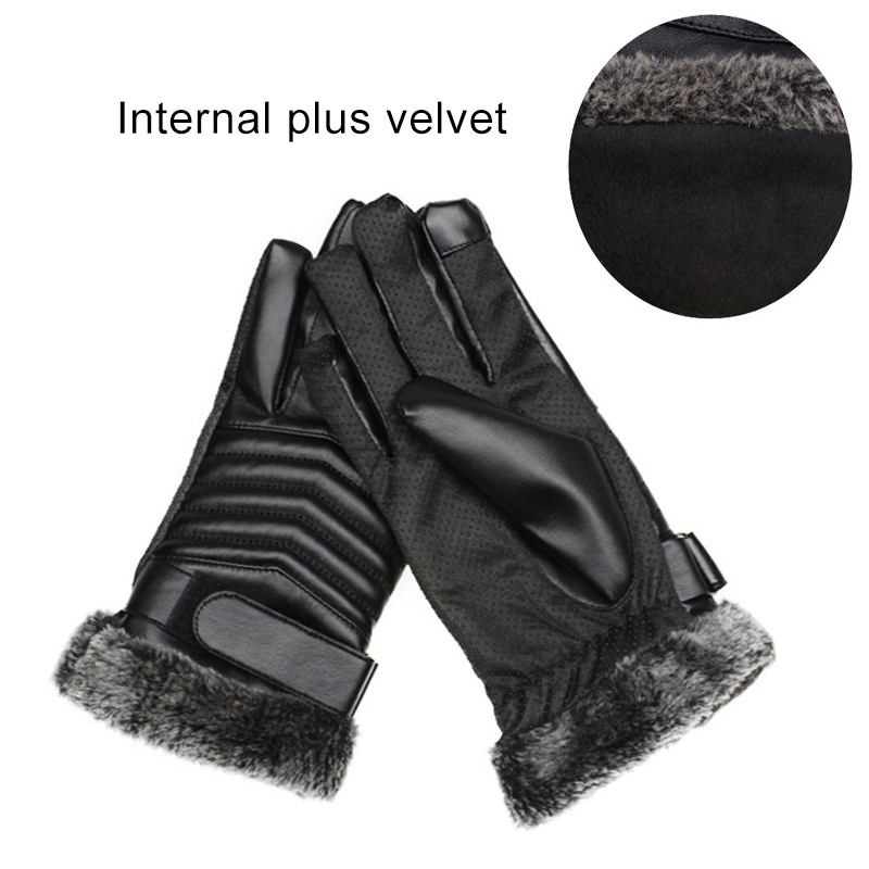 Protective Riding Winter Outdoor Sports Touch Screen Thickened Splashproof Windproof Warm Polyester Gloves for Male