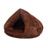 Triangular Cat Kennel Warm Thicken Mongolian Yurt Pet Dogs Cats House L, 45 45 33cm (Dark Coffee)