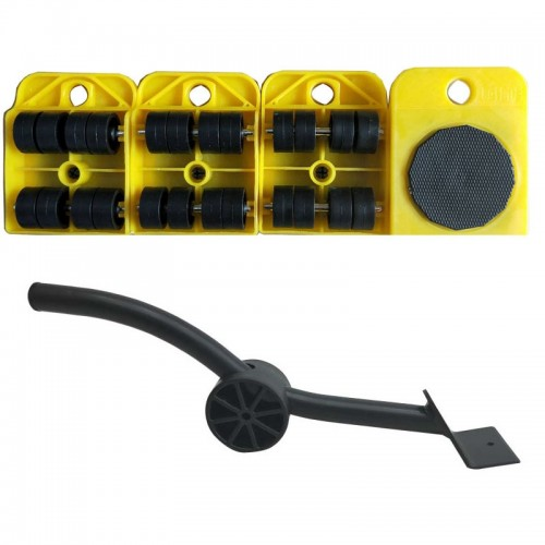 A3 Steel / Plastic Crowbar Plastic Mover Thick Weight Moving Tool Convenient And Practical Combination (Yellow)
