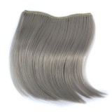 Color Gradient Invisible Seamless Hair Extension Wig Piece Straight Hair Piece Color Bangs Hair Piece (Light Grey)