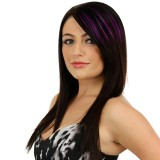 Color Gradient Invisible Seamless Hair Extension Wig Piece Straight Hair Piece Color Bangs Hair Piece (Purple)