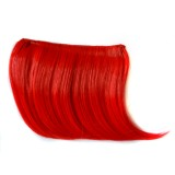 Color Gradient Invisible Seamless Hair Extension Wig Piece Straight Hair Piece Color Bangs Hair Piece (Red)