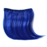 Color Gradient Invisible Seamless Hair Extension Wig Piece Straight Hair Piece Color Bangs Hair Piece (Sapphire Blue)