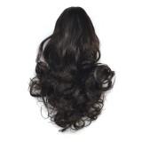 Natural Short Curly Hair Clip-on Pear Blossom Roll Horsetail Wig (Black Brown)