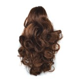 Natural Short Curly Hair Clip-on Pear Blossom Roll Horsetail Wig (Flaxen)