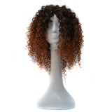 T191006 European and American Black Gradient Light Brown Wig Headgear with Short and Small Curly Hair for Women