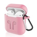 6 in 1 Earphone Bag + Earphone Case + Earphones Silicone Buckle + Earbuds + Anti-Drops Buckle + Anti-lost Rope Wireless Earphone Silicone Case Set for Apple Airpods (Pink + White)