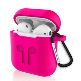 6 in 1 Earphone Bag + Earphone Case + Earphones Silicone Buckle + Earbuds + Anti-Drops Buckle + Anti-lost Rope Wireless Earphone Silicone Case Set for Apple Airpods (Rose Red)