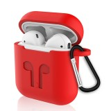 6 in 1 Earphone Bag + Earphone Case + Earphones Silicone Buckle + Earbuds + Anti-Drops Buckle + Anti-lost Rope Wireless Earphone Silicone Case Set for Apple Airpods (Red)