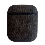 Sea Sand Texture Anti-lost Dropproof Wireless Earphones Charging Box Protective Case for Apple AirPods (Black Grey)
