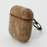 Snake Skin Texture Anti-lost Dropproof Wireless Earphones Charging Box Protective Case for Apple AirPods (Brown)