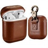 ICARER Genuine Leather Anti-lost Dropproof Wireless Earphones Charging Box Protective Case for Apple AirPods, with Clasp (Brown)