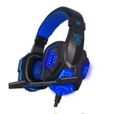 PLEXTONE PC780 Over-Ear Gaming Earphone Subwoofer Stereo Bass Headband Headset with Microphone & USB LED Light (Black Blue)