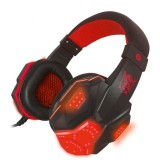 PLEXTONE PC780 Over-Ear Gaming Earphone Subwoofer Stereo Bass Headband Headset with Microphone & USB LED Light (Black Red)
