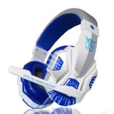 PLEXTONE PC780 Over-Ear Gaming Earphone Subwoofer Stereo Bass Headband Headset with Microphone & USB LED Light (White Blue)