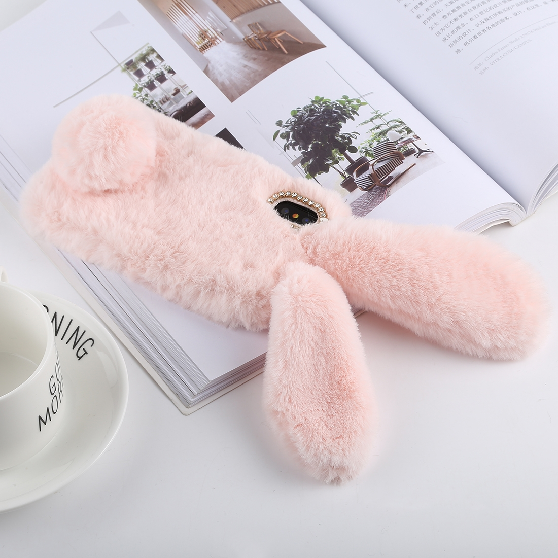 Cute Rabbit Ears Style Plush Case for iPhone XS Max (Pink)