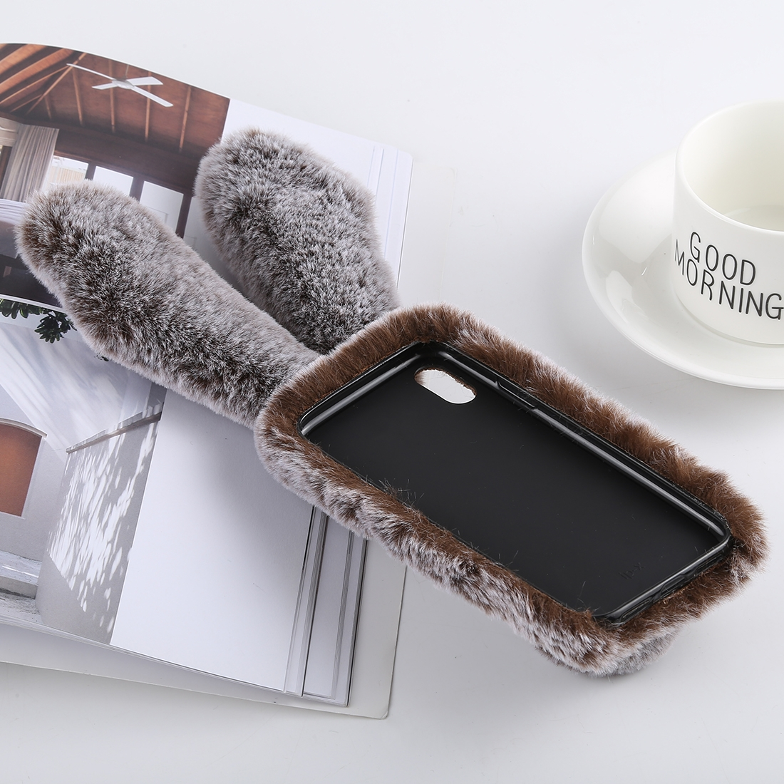 Cute Rabbit Ears Style Plush Case for iPhone XS Max (Brown)