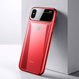 TOTUDESIGN Magic Mirror Series Shockproof PC + Glass Protective Case for iphone X/XS (Red)
