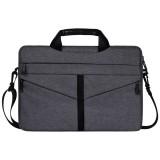 14.1 inch Breathable Wear-resistant Fashion Business Shoulder Handheld Zipper Laptop Bag with Shoulder Strap (Dark Gray)