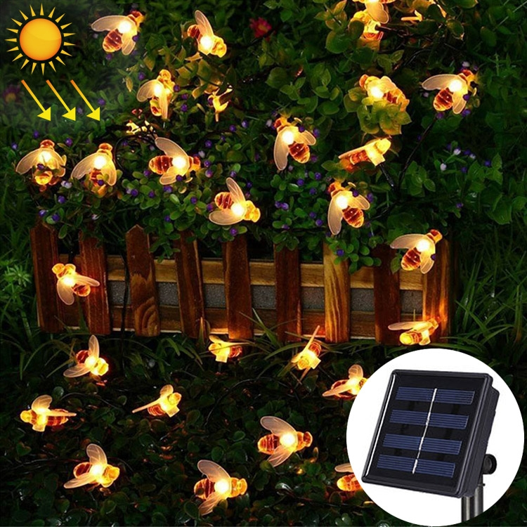 4.8m 20 LEDs Bee Solar Powered Warm White Outdoor Garden Decorative String Light Fairy Lamp with 100mA / 1.2V Solar Panel