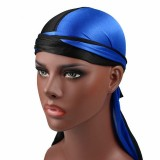 Double-coloured Silk Satin Long-tailed Pirate Hat Turban Cap Chemotherapy Cap (Black Blue)