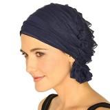 Muslim Stacking Cap Chiffon Fold Turban Cap Chemotherapy Cap (Beige)