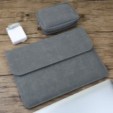 2 in 1 Horizontal Matte Leather Laptop Inner Bag + Power Bag for MacBook Pro 15.4 inch A1707 (2016 – 2017) (Grey)