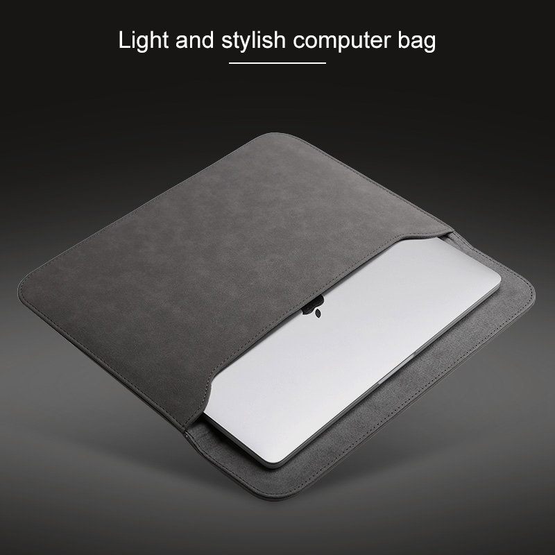 2 in 1 Horizontal Matte Leather Laptop Inner Bag + Power Bag for MacBook Pro 15.4 inch A1707 (2016 - 2017) (Grey)