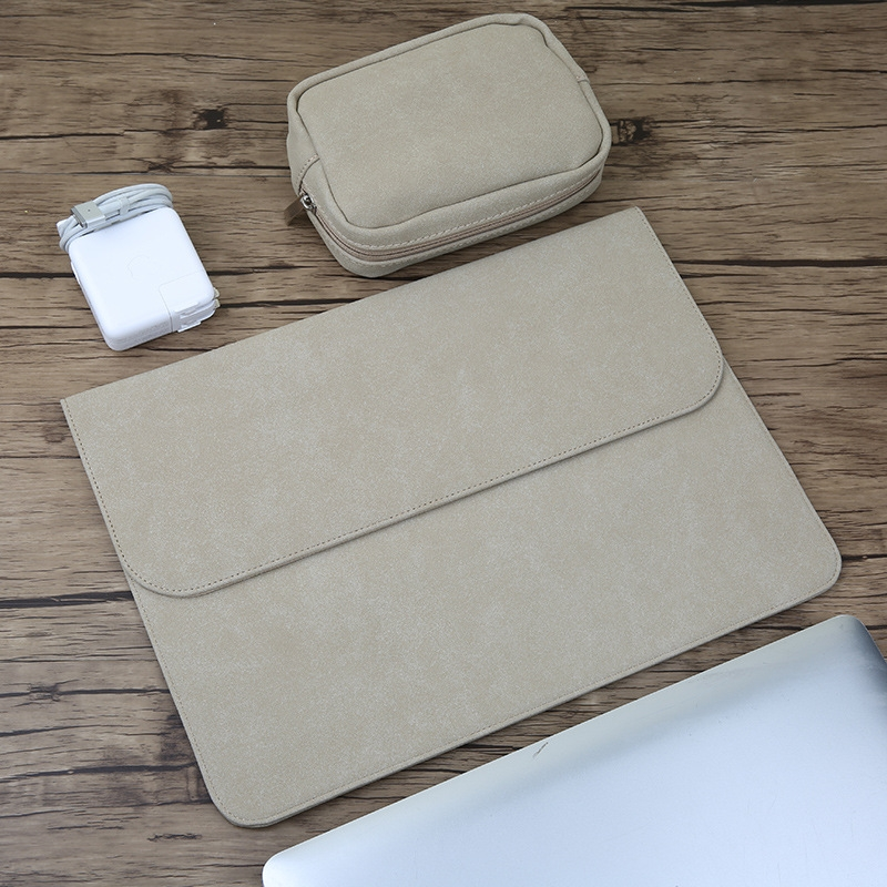2 in 1 Horizontal Matte Leather Laptop Inner Bag + Power Bag for MacBook Pro 15.4 inch A1707 (2016 - 2017) (Khaki)
