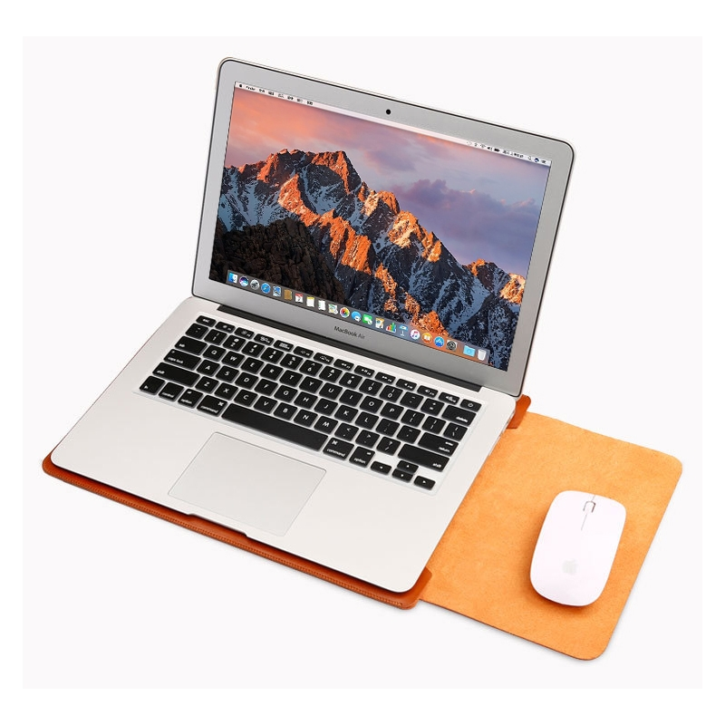 4 in 1 Laptop Microfiber Leather Inner Bag + Power Bag + Mouse Storage Bag + 2 Winders for MacBook Air 13.3 inch (Rose Gold)