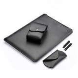 4 in 1 Laptop Microfiber Leather Inner Bag + Power Bag + Mouse Storage Bag + 2 Winders for MacBook 12 inch (Black)