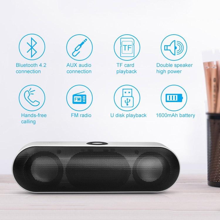 NBY-18 Mobile Phone Wireless Bluetooth Multi-function Mini Speaker, Support TF Card (Silver Grey)