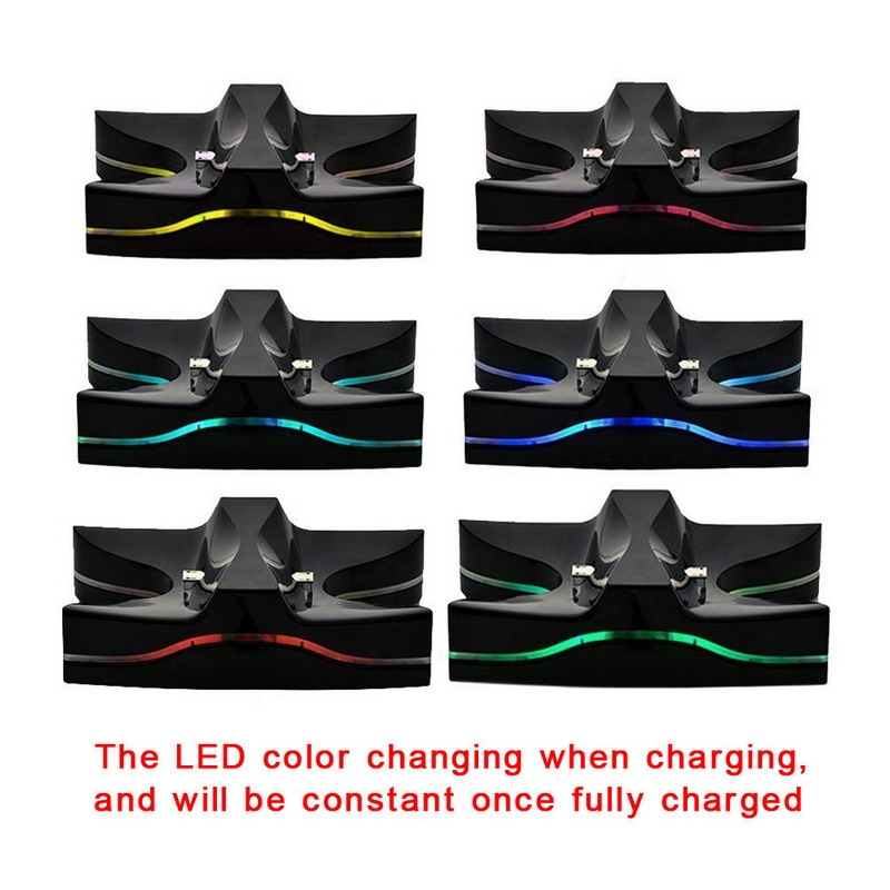 Special UFO Shape 2xUSB Charging Dock Station Stand / Controller Charging Stand for For PS4 Playstation 4 with Multi Colors LED (Black)