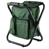 Outdoor Portable Folding Camping Chair Light Fishing Beach Chair Stainless Steel Pipe Folding Chair with Ice Bag (Green)