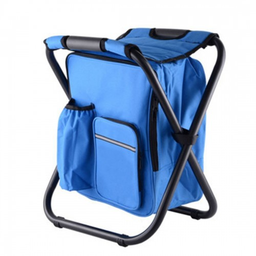 Outdoor Portable Folding Camping Chair Light Fishing Beach Chair Stainless Steel Pipe Folding Chair with Ice Bag (Blue)