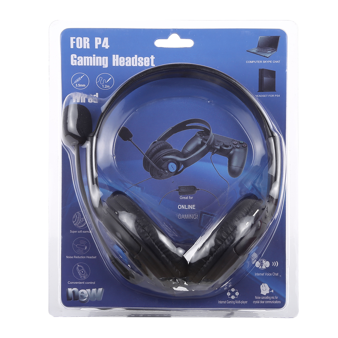 AMD-01 3.5mm Plug Noise Reduction Stereo Surround Wired Headset with Microphone for Computer, PS4