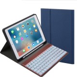 Detachable Bluetooth Keyboard + Horizontal Flip Leather Case with Holder & Colorful Backlight for iPad Pro 9.7 inch, iPad Air, iPad Air 2, iPad 9.7 inch (2017), iPad 9.7 inch (2018) (Blue)