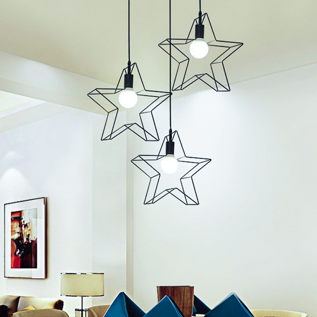 YWXLight Modern Lamps Light Iron LED Chandelier Living Room Bedroom Kitchen  Lamp Five-pointed Star Creative 360 Degrees Rotating Chandelier (Warm ...