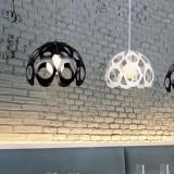 YWXLight Modern Hollowing Iron Pendant Light Beautiful Tree Pattern Carve Lamp Vintage Chandelier Ceiling Loft Living Room Light Fixture (White)