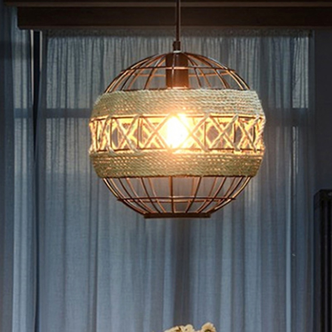 Ywxlight Vintage Style Pendant Lighting Loft Hemp Rope Art Deco Light Fixtures Restaurant Bar Lights Led Hanging Lamps Warm White