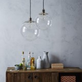 YWXLight Nordic Modern Hanging Lamp Creative Transparent Glass Circle Ball Pendant Light With E27 Bulb Perfect for Kitchen Dining Room Bedroom (Warm White)