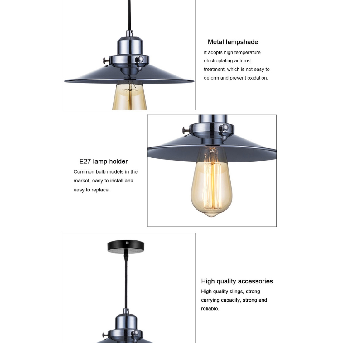 YWXLight LED Industrial Kitchen Pendant Light Creative Hanging Lamp E27  Bulb Perfect for Kitchen Dining Room Bedroom Living Room (Warm White)