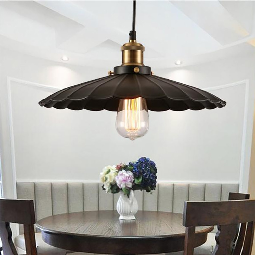 YWXLight Nordic Retro Industrial Pendant Light Creative Lotus Leaf Pendant  Lamp E27 Bulb Perfect for Kitchen Dining Room Bedroom Cafe (Warm White)