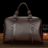 Large Capacity PU Leather Business Travel Bag Sports Gym Travel Handbag (Brown)