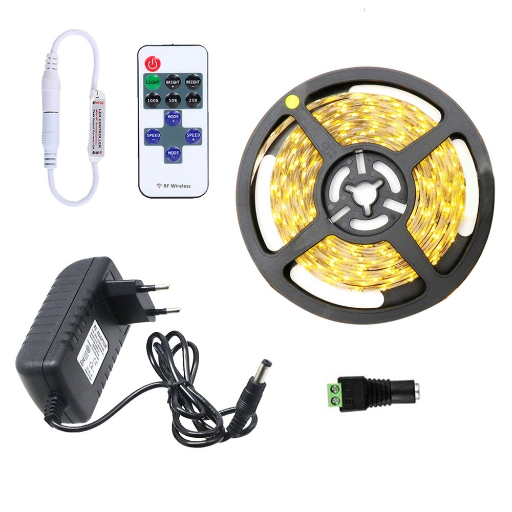 YWXLight Dimmable Light Strip Kit, 5m LED Ribbon, Non-Waterproof For Indoor, 11key Remote Control LED Strip Lamp 300led EU Plug (Warm White)