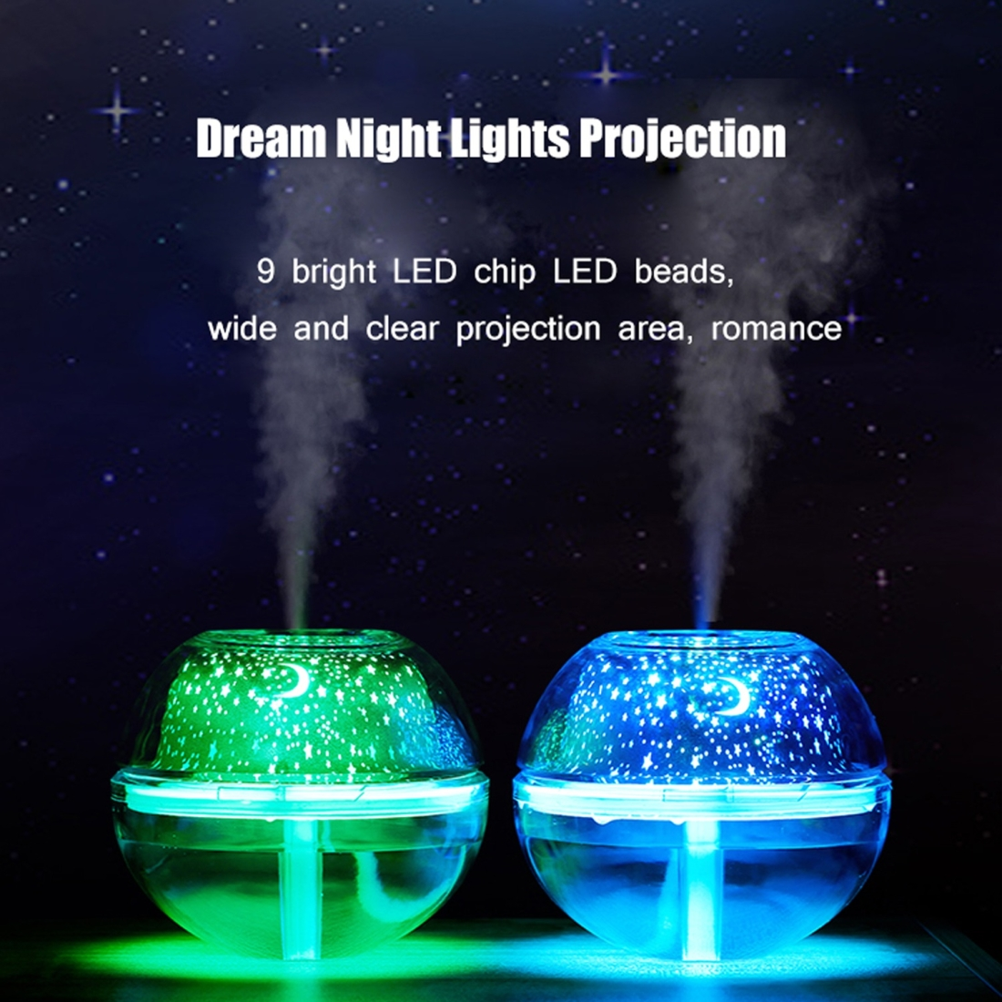 YWXLight 200ml 2W Projection Humidifier Night Light (Gold)