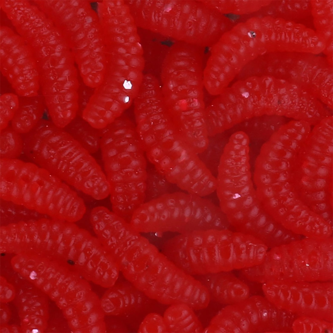 HENGJIA SO106 50 PCS 20mm Simulation Bread Bait Worms Crescent Soft Bait Horseback Fish Worm Bait Fishing Gear (Red)