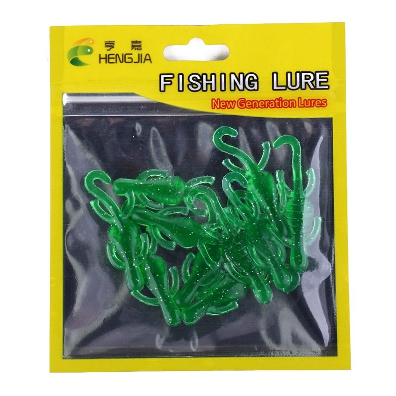 HENGJIA SO103 10 PCS 5cm/1g Gecko Shaped Simulation Fish Bait Soft Bait for Fishing (Green)