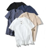 Mens Summer Thin Cotton Linen Solid Color Short Sleeve Button Casual T-Shirts