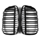 Pair Gloss Black Double Line Front Kidney Grille For BMW F48 F49 X1 2016-2017